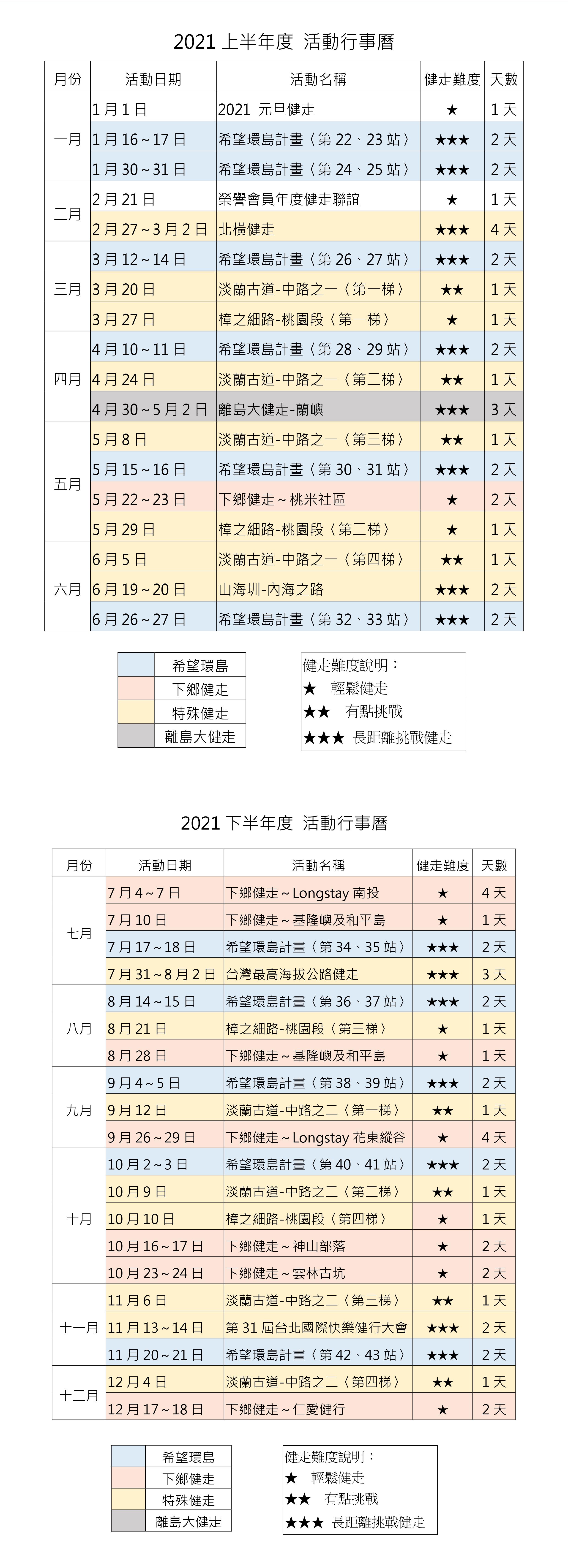 2021年度行事曆