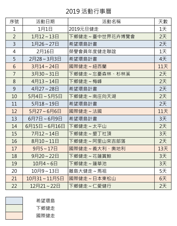 2019活動行事曆